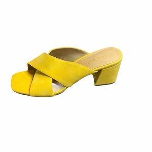 Nine West Square Toe Chunky Heel Slide Sandals